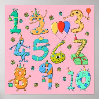 Födelsedagsfesten numrerar, på Pink. Affischer