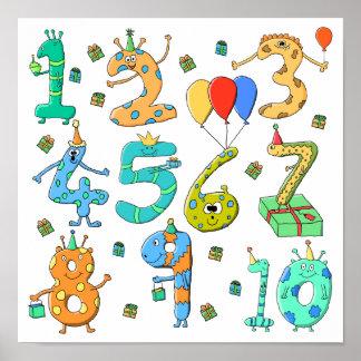 Födelsedagsfesten numrerar poster