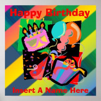 Födelsedagsfestfödelsedagaffisch Poster