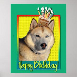 Födelsedagsfesthatt - guld- RetrieverTebow kran Affischer