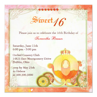 Födelsedagsfestinbjudan för Princess Vagn Sötsak Fyrkantigt 13,3 Cm Inbjudningskort