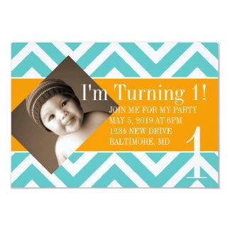Födelsedagsfestinbjudan   roterande  chevblu 8,9 x 12,7 cm inbjudningskort