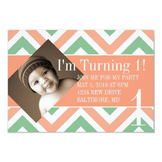 Födelsedagsfestinbjudan | roterande |chevpchmulti 8,9 x 12,7 cm inbjudningskort