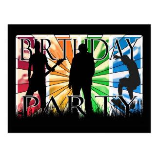 Födelsedagsfestinviation med skater, guiterplaye vykort