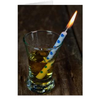födelsedagstearinljus i skjutit exponeringsglas hälsningskort
