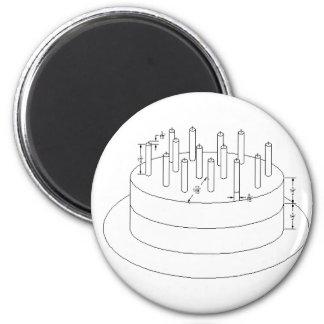 Födelsedagtårta - formulerad arkitektonisk stil magnet rund 5.7 cm