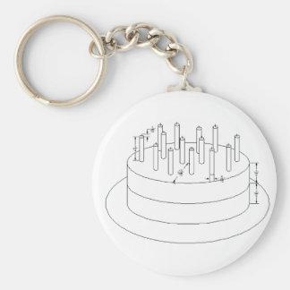 Födelsedagtårta - formulerad arkitektonisk stil rund nyckelring