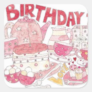 FödelsedagTea Fyrkantigt Klistermärke