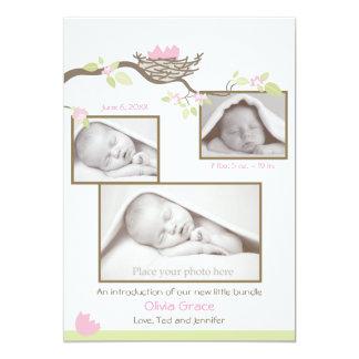 Födelsemeddelande - flicka 12,7 x 17,8 cm inbjudningskort