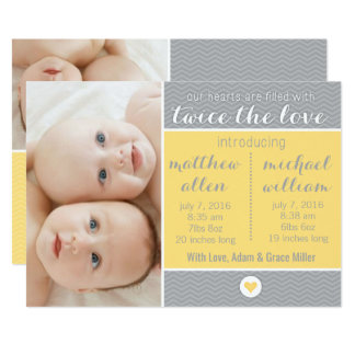 Födelsemeddelande - twillingar, två gånger 12,7 x 17,8 cm inbjudningskort