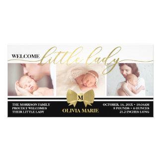 Födelsemeddelandet, lite damen, Fauxguld Fotokort