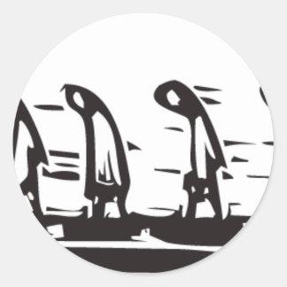 Fodra av arbetare runda klistermärken