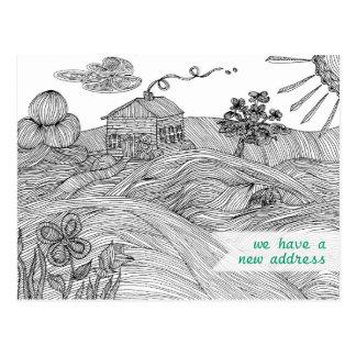 Fodra konsthuset på en ny adress vykort för backe