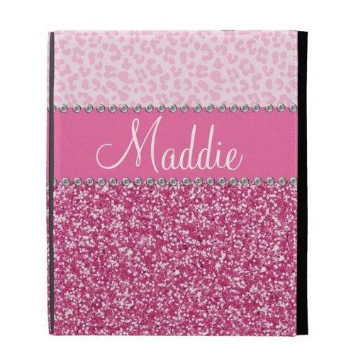 Fodral för iPad för Leopard BLING för rosaglitterR
