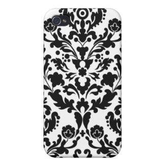 Fodral för iPhone 4 för vit svart damastast iPhone 4 Skal