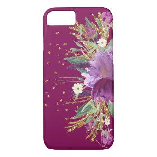 Fodral för iPhone 7 för nätt lilaglitter blom-