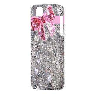 fodral för silversequins-/rosapilbåge iphone5 iPhone 5 Case-Mate skal