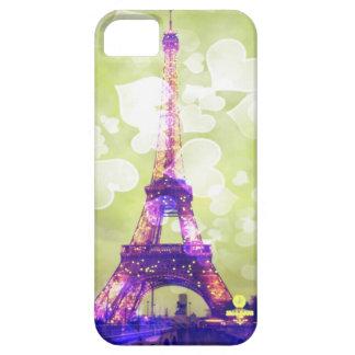 Fodral, grönt och lilor för Eiffel torntelefon iPhone 5 Cases