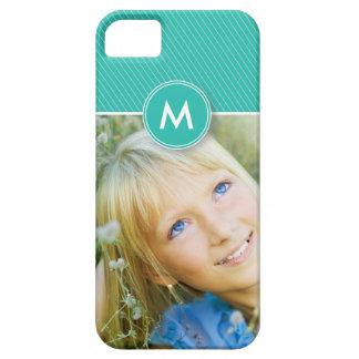 Fodral-Kompis för Monogramrandfoto fodral (aqua) iPhone 5 Hud