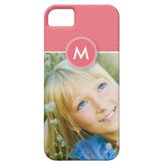 Fodral-Kompis för Monogramrandfoto fodral (rosa ro iPhone 5 Case-Mate Fodral