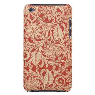 Fodral-Kompis för vintage damastast blom- rött iPod Case-Mate Case