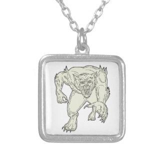 Fodrar gigantiska rinnande Mono för Werewolf Silverpläterat Halsband
