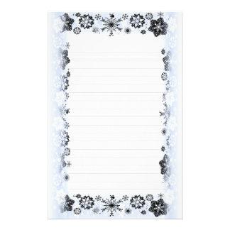 Fodrat handstilpapper för snöflingor gräns brevpapper