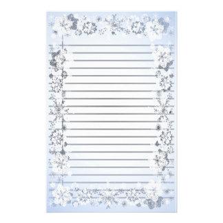 Fodrat handstilpapper för snöflingor skurkroll brevpapper