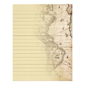 Fodrat handstilpapper för vintage karta brevhuvud
