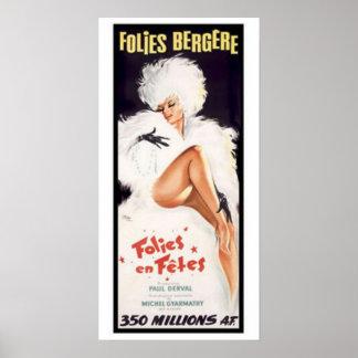 Folies-Bergere kabaretdansteater Poster
