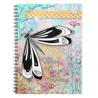 Följ din drömsländaanteckningsbok anteckningsbok med spiral