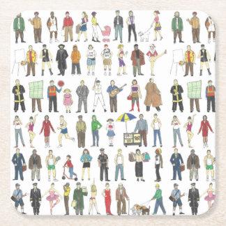 Folk av för medborgarekonst för NYC New York City Underlägg Papper Kvadrat