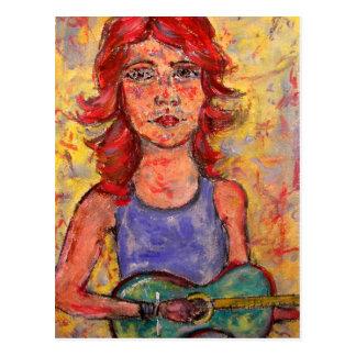 folk flicka som leker den färgglada gitarren vykort