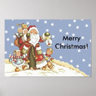 Folk konst Santa lurar julsnöflingor Poster
