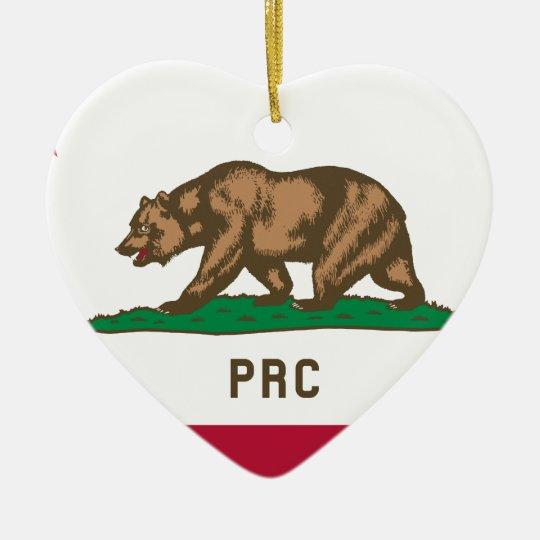 Folkets republik av Kalifornien Hjärtformad Julgransprydnad I Keramik