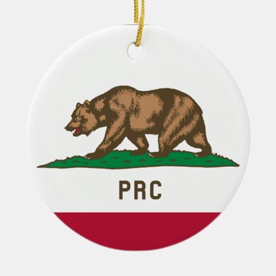 Folkets republik av Kalifornien Rund Julgransprydnad I Keramik