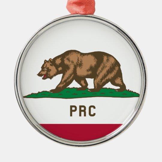 Folkets republik av Kalifornien Rund Silverfärgad Julgransprydnad