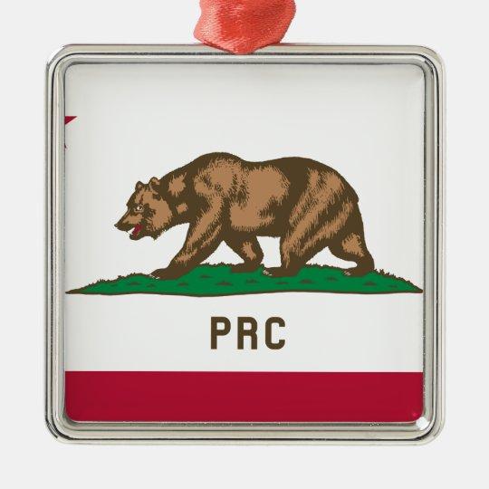 Folkets republik av Kalifornien Silverfärgad Fyrkantigt Julgransprydnad