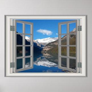 Fönster för Faux för Lake Louise bergreflexion Poster