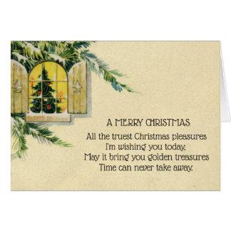 Fönster för helgdag för vintageVictorianjulgran Hälsningskort