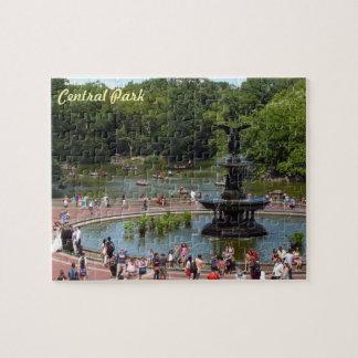 Fontän och sjö i Central Park, New York City Pussel