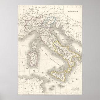 Foodie för italienare för karta för italien för ga print