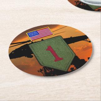 För 1st vets för 1 veteran legitimationinfanteri underlägg papper rund