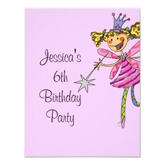 för 6efödelsedag för rosa princess felik flicka 10,8 x 14 cm inbjudningskort