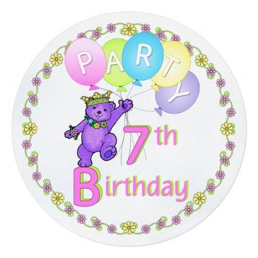 För 7:efödelsedagsfest för Princess nalle anpassni Inbjudningskort
