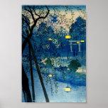 För aftonträkloss för vintage japansk konst Ukiyo- Poster