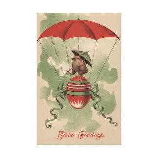 För äggparaply för påsk chick färgad fallskärm canvastryck