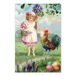 För äggtupp för påsk färgad målad daisy fototryck