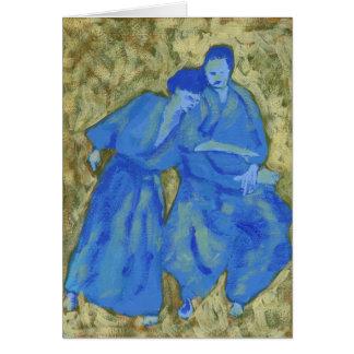 För aikidohälsning för blått och för grönt hälsningskort