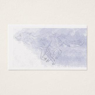 För akvarellspöke för varg rinnande blått visitkort